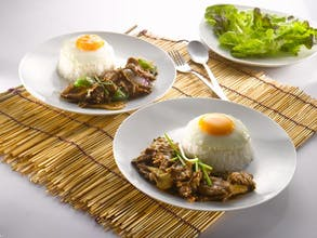 Ginger Springonion Beef Rice + Fried Egg