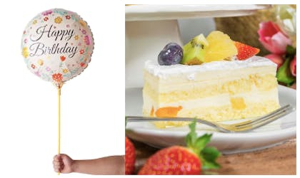1 Slice Cake + Floral Balloon