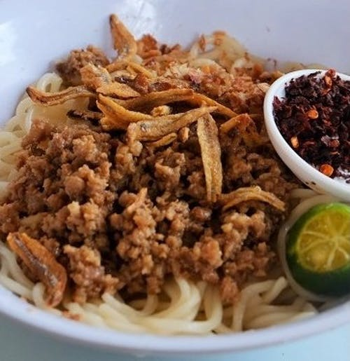 Dry Pan Mee Minced Chicken + Anchovy