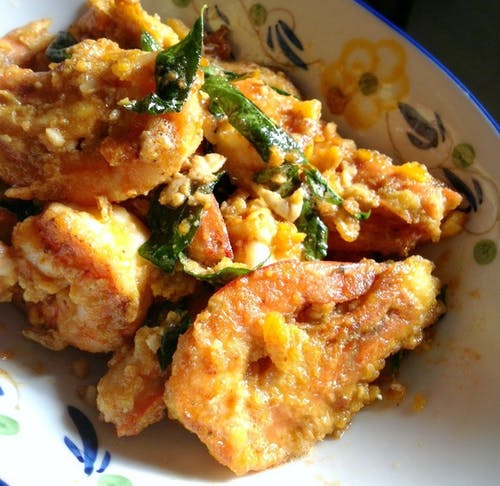 Salted Egg Prawn Rice + Egg