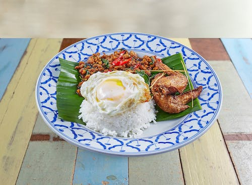 R17 Kra-Pow Chicken Rice with Tasty Chicken Wings