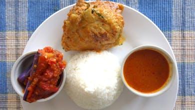 Nasi, Ayam Kari, Sambal Terung