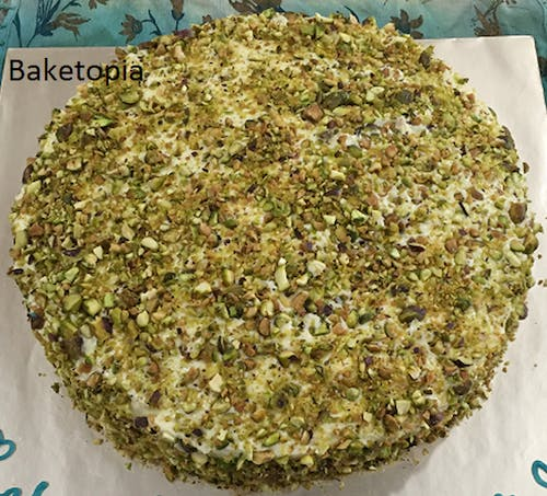 Pistachio Cake (Eggless) with Cream Cheese Icing