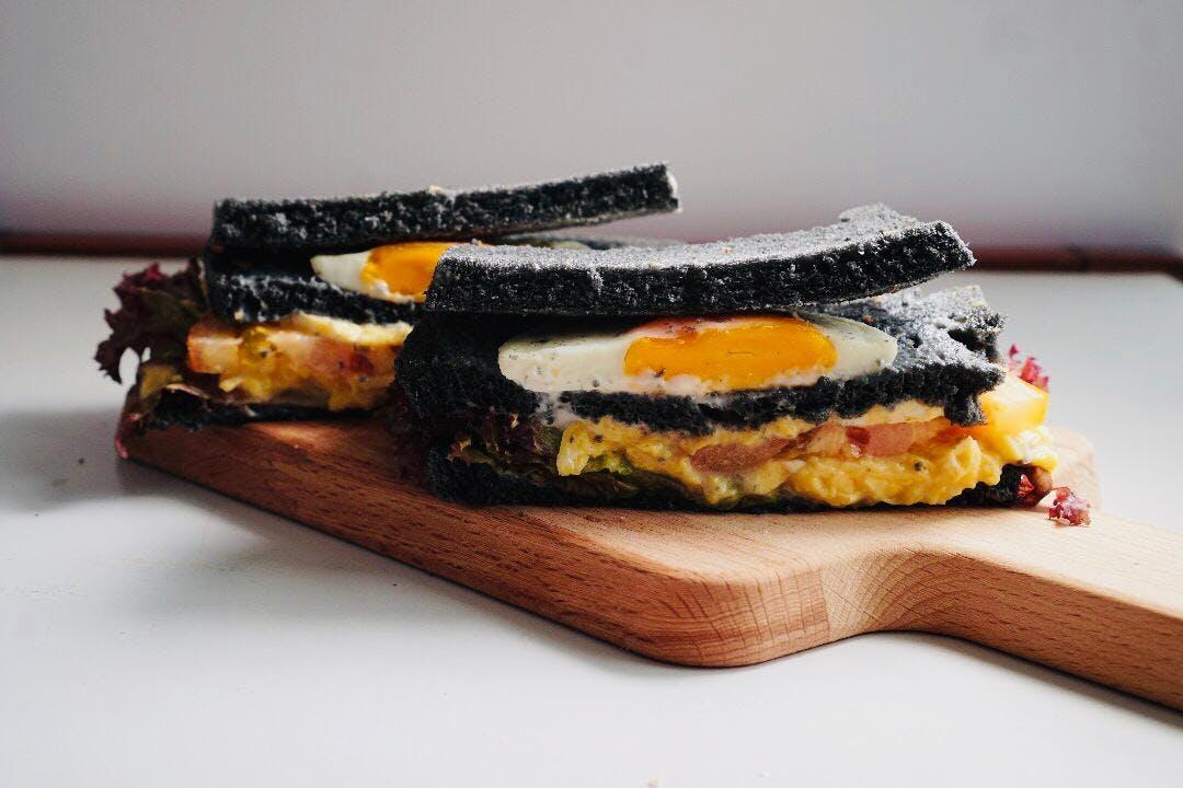Double Egg Charcoal Sandwich