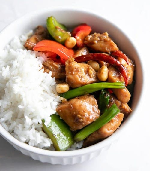 Stir Fried Dried Chili Chicken Rice with Fried Egg