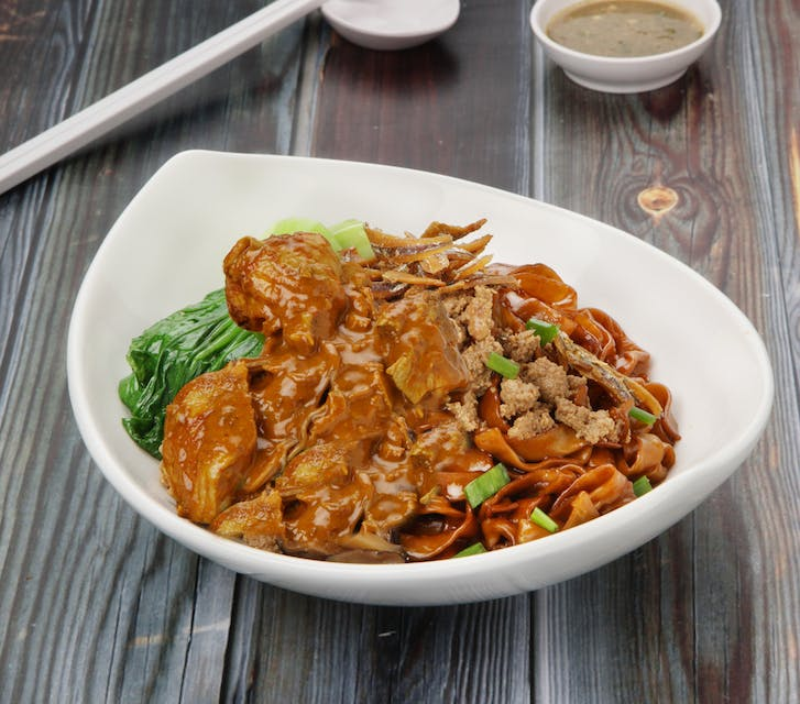 Dry Curry Chicken Pan Mee