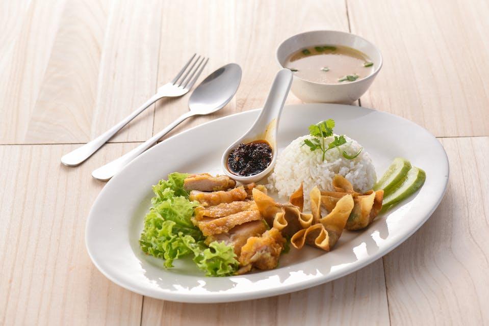 Crispy Chicken Rice + 3 Wanton